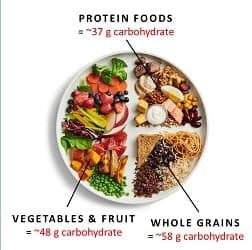 New Canada Food Guide – carbohydrate estimate of the sample plate